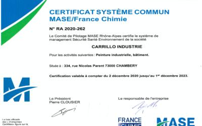 CARRILLO Industrie obtient la certification MASE pour 3 ans